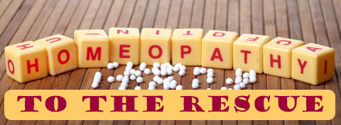 Homeopathy To The Rescue spelled with dice